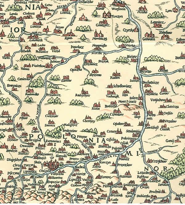 Mons S. Crucis (Góra Świętokrzyska) na mapie Polski Wacława Grodeckiego wydanej około 1557 r. w Bazylei