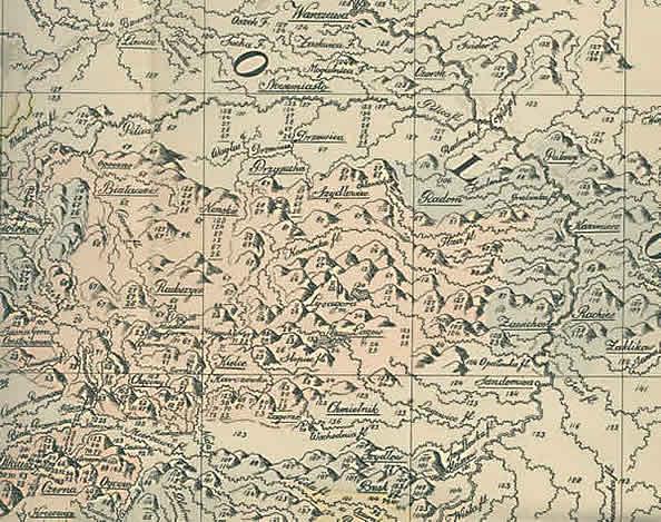 Góry Świętokrzyskie na mapie Stanisława Staszica z 1806 r.
