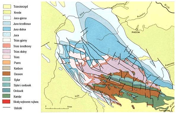Uproszczona mapa geologiczna regionu świętokrzyskiego