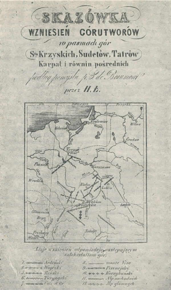 Szkic geotektoniczny H. Łabęckiego z 1848 r. (za J. Staszewskim, 1966)