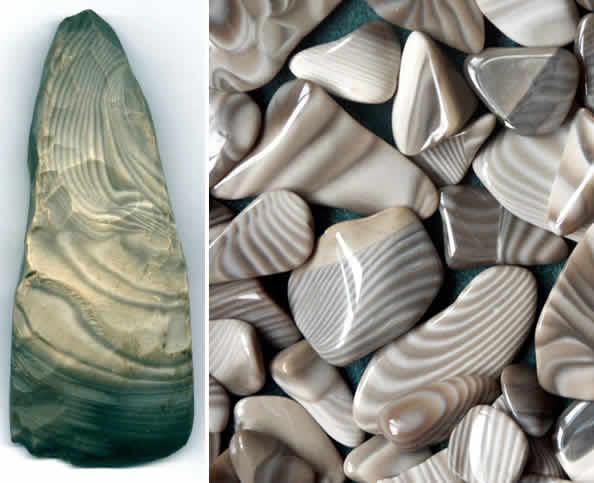 Krzemień pasiasty: prahistoryczna siekierka (kultura pucharów lejkowatych) i współcześnie oszlifowane okruchy