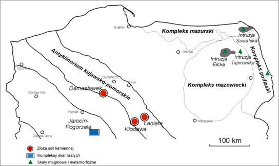 Lokalizacja wytypowanych struktur skalnych do budowy głębokich składowisk wypalonego paliwa i wysokoaktywnych odpadów promieniotwórczych wg IGSMiE PAN