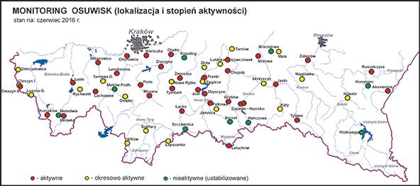Aktywność osuwisk - stan na czerwiec 2016r.