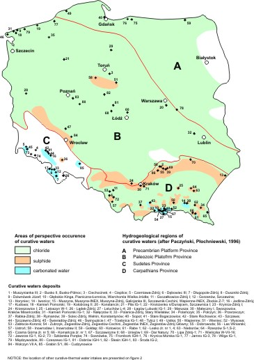 Occurrence of particular chemical types of curative and mineralised waters