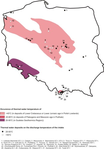 Occurrence of thermal waters in Poland