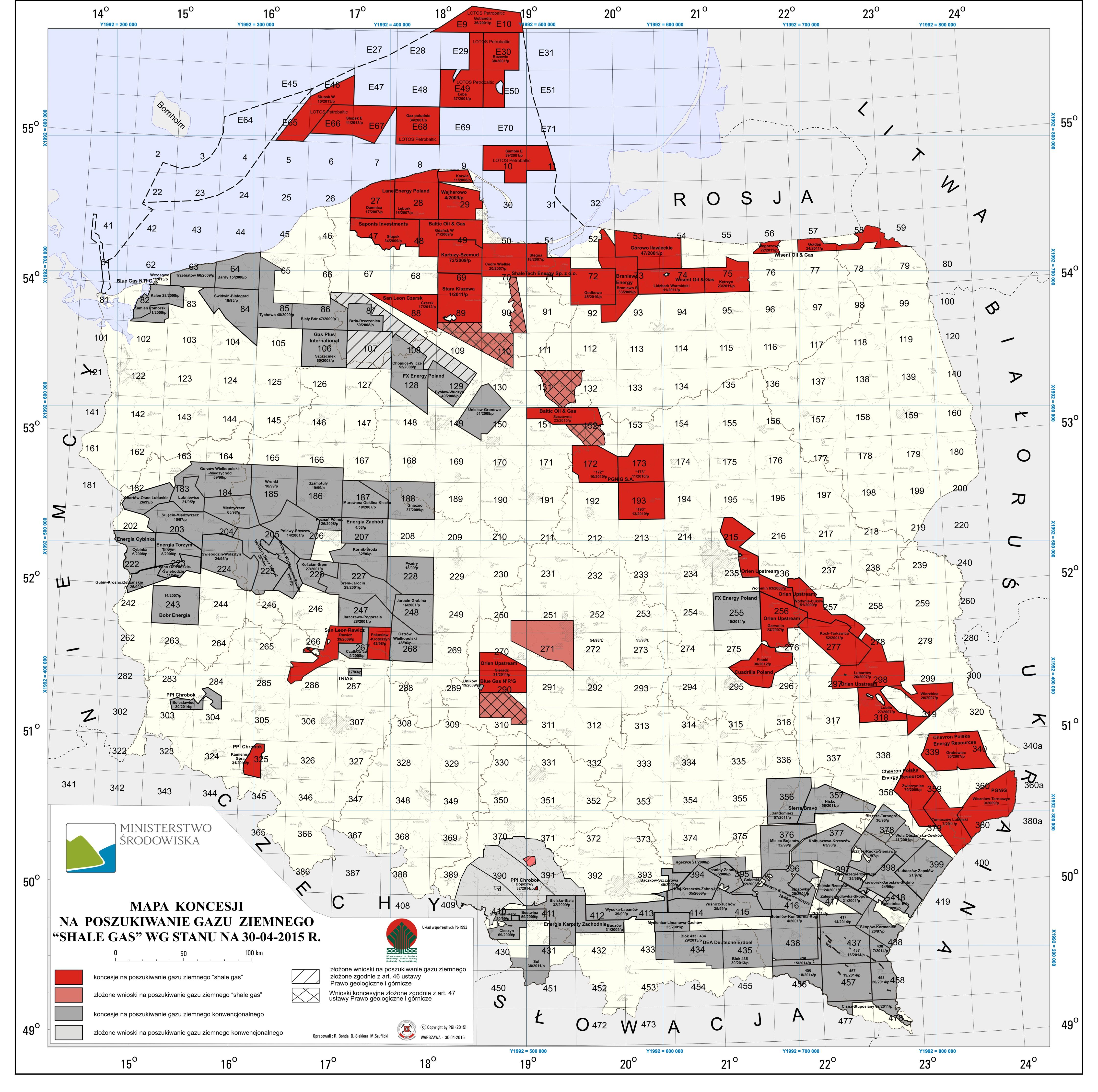 koncesja shale gas kwiecień 2015