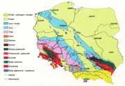 Mapa geologiczna Polski bez utworów kenozoicznych