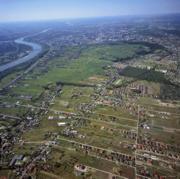 zdjęcie lotnicze okolic Wawra - dawny meander koryta