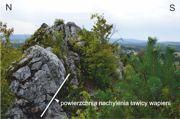 Fragment skalnej grani na Górze Miedzianka z widoczną powierzchnią nachylenia ławicy wapieni