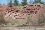 Niezgodność kątowa między skałami dewonu środkowego i nadległymi czerwonymi piaskowcami permu i triasu