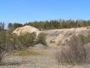 """Widok ogólny na odsłonięcie geologiczne rezerwatu """"Gagaty Sołtykowskie"""". Widoczne są poziomo warstwowane, ciemnoszare mułowce i iłowce, a na górze żółto-brązowe piaskowce występujące w formie soczew (mniejszych – po prawej i dużej – po lewej)"""