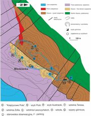 Mapa geologiczna odkryta rejonu Miedzianki (wg J. Czarnockiego i Z. Rubinowskiego)z trasą ścieżki dydaktycznej
