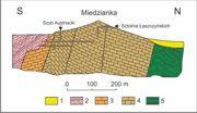 . Przekrój geologiczny przez Górę Miedziankę(uproszczony)